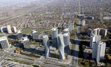 How the Absolute Towers residential complex looks from the air.