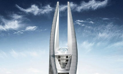 The top of the tower represents an eye that epitomises the Sheikh's vision for the project.