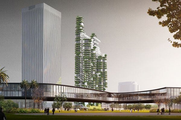 The Cloud Corridor features nine towers with floating garden patios, connective landings and bridges atop a rising podium.