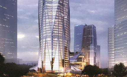 The tower design is inspired by the Chengdu's urban structure, local culture and Chinese feng shui theory.