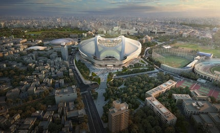 Aerial view of New National Stadium, Tokyo.