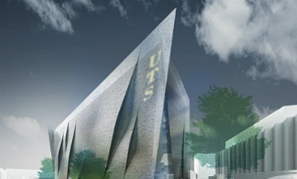 The UTS ITE building is designed as a single sculpture enclosed in tilted façade.