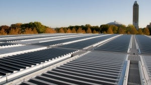 Photovoltaic louvers on the roof of Kimbell Art Museum