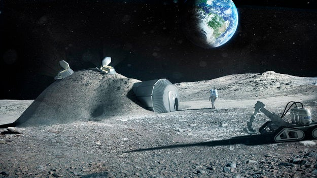 Lunar base with 3D printing